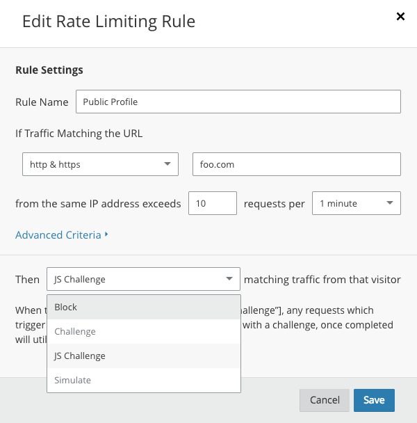 rate limiting rules