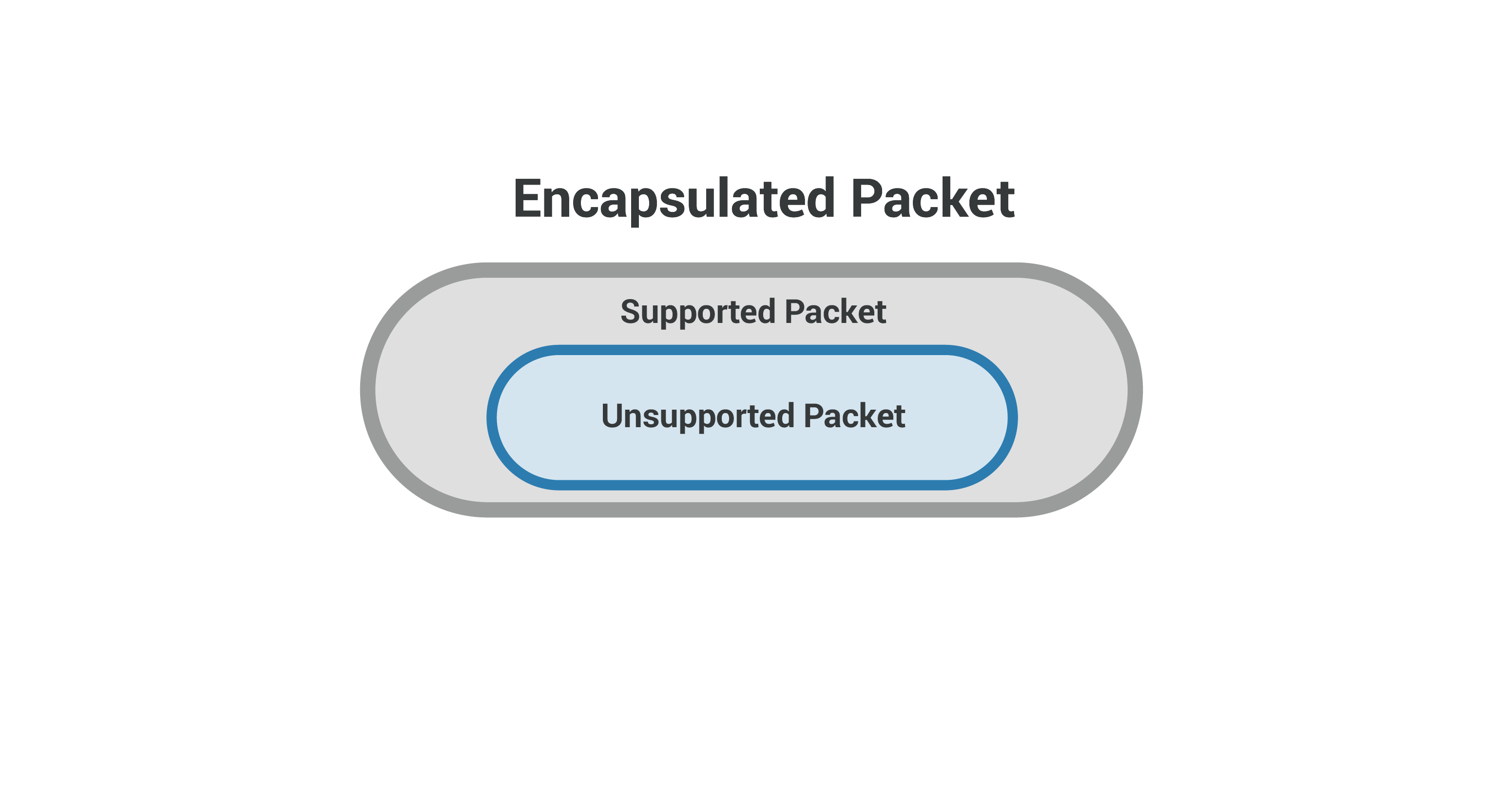 Encapsulated packet - network-supported packet inside unsupported packet