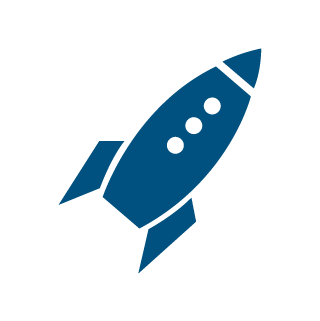 icon rocket loader blue
